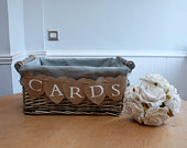 Grey Wash Shabby Chic Rustic Vintage Wicker basket WEDDING CRATE CARDS Box Handmade Bunting