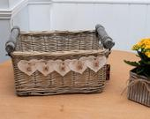 Grey White Wash Shabby Chic Rustic Vintage Wicker basket WEDDING CRATE CARDS Box Handmade Bunting