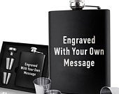 Personalised Hip Flask Engraved Stainless Steel Whisky Flask 6oz Pocket Flask Custom Gift for Best Man Groomsman Father Wedding Birthday