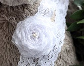 3 to 6m White Lace and Rosette Flower Baby Headband With Freshwater Pearls, Beautiful Flower Girl Hairband For Weddings And Christenings