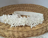 Baby lace tiara, hair band for baptism, christening, ivory lace and pearl headband, wedding headpiece for flower girl, newborn hair crown