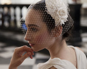 Ivory Wedding Headpiece with detachable birdcage veil and flower and lace details for 1940s, 1930s style wedding dress Agnes Hart UK
