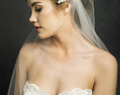 Ivory Bridal Wedding Fingertip/ Waltz single layer 1 tier lace cap veil with rhinestones clips is for sale.
