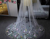 Chapel Wedding Veil with Coloured 3 D Flowers in Ivory or whiteBridal Veil,ivory Veil,Floral Veil,Wedding Veil with combWeddings veils