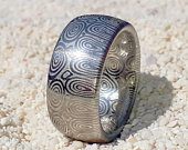 Stainless Damascus Steel Ring Bluetongue Pattern