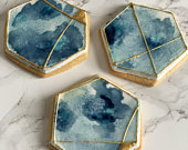 Watercolour Ink Biscuit / Cookie Favours Favor with Edible Gold Navy Hexagon Bespoke Handmade Handcrafted Unique Can Be Customised Further