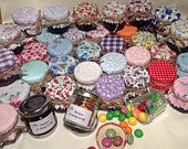 50 X jam covers/wedding favour fabric lid tops to fit jar lids 4653mm