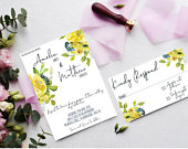 Yellow wedding invitation template with flowers, elegant garden wedding stationary set with RSVP and Save the date for spring wedding