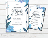 Blue flowers Save The Date