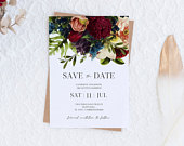 Burgundy floral save the date winter floral wedding invite, fall burgundy invitation, moody floral save the date , instant download, 105