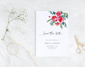 A6 Save The Date with Watercolour Red Roses, printable pdf download Wedding invitation with Shabby Chic flowers and beautiful calligraphy