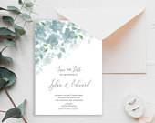Julia Blue watercolour flowers and foliage save the Date chic wedding date announcement templett