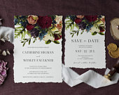 Moody floral wedding invitation Save the Date set burgundy floral invite set, dark burgundy wedding save the date , instant download, 105
