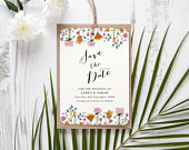 Personalised Wild Floral Save The Date / Evening Hole Punched Twine or Ribbon Natural Wild Flowers