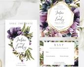 Anemone and Watercolour Flowers Wedding Invitation Suite,Foliage,Watercolour, Magnolia, Save The Date, RSVP,Digital Download, Templett
