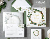 White Floral Foil Wedding Invitations Save the date or Change the date. Luxury greenery wedding invites with foiled hoop detail and RSVP