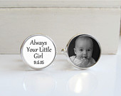Father of the Bride Gift, Personalized Photo Cufflinks, Mens Cuff Links