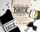 Vintage Style Father of the Bride Wedding Essentials Gift Set Socks, Mints, Handkerchief and Personalised Gift Bag