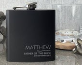 Engraved FATHER of the BRIDE black hip flask WEDDING gift, laser engraved, presentation gift box NYM1