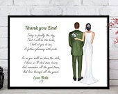 Father of the Bride Gift, Wedding Print, Personalised Print, Parent Wedding Gift, Dad and Daughter Print, Father of the Bride Print