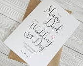 Mum and Dad Wedding Thank You Card, Father of the Bride Card, Mother of the Bride Card, Parents Wedding Card, Personalised, Handmade, Custom