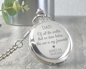 Engraved FATHER of the BRIDE pocket watch gift, personalised groomsmen wedding gift, watch chain and presentation tin gift box PWWK1