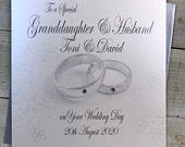 Granddaughter her Husband Personalised wedding Cards with glittery Rings design Son, Daughter, sister, brother, grandson