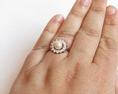 Magnolia pearl ring. Mom, daughter, wife. Sterling silver, cubic zirconia. Gift for her. Any occasion, wedding, engagement.