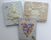 Assorted Shabby Chic Unique Hand Crafted Lace or Button Tree or Heart Canvases