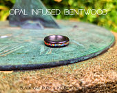 Bentwood Titanium Ring, Custom Choices, Raw Opal 6/8mm, Water resistant, polished Mens, Womans Anniversary, Wedding Ring