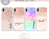PERSONALISED name glitter initial hard plastic phone case hard plastic cover for apple iphone 5 5s 6 7 8 11 Pro Xs XR Xs MAX