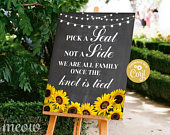 Wedding Sunflower Editable Sign Ceremony Party 16 x 20 inches Seating Poster Chalk Rustic EDIT INSTANT DOWNLOAD Printable WCWP004