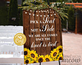 Wedding Sunflower Editable Sign Ceremony Party 16 x 20 inches Seating Poster Wood Rustic EDIT INSTANT DOWNLOAD Printable WCWP004