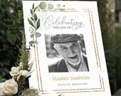 Funeral Welcome Sign Celebration of Life Decoration Large Funeral Sign Memorial Sign Funeral Decor Greenery Sign AMY