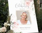 Funeral Welcome Sign Celebration of Life Decoration Large Funeral Sign Memorial Sign Funeral Decor Pink Floral IZZY