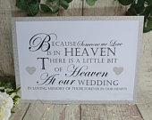 Glitter Sign Wedding Party In Loving Memory Heaven A4 handmade sturdy sign white silver gold royal blue fuchsia pink