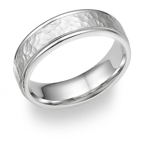 Platinum Hammered Design Wedding Band Ring