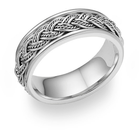 Platinum Hand-Braided Wedding Band Ring