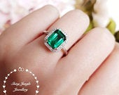 Halo emerald cut emerald engagement ring, vivid green emerald ring, green gemstone ring, rectangular ring, white/rose gold plated silver