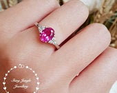 Oval pink sapphire promise ring, engagement ring, three stone ring, white gold plated silver, Hot pink stone ring, September birthstone ring