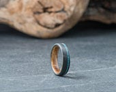 Carbon Fiber Ring with OffCenter Turquoise Mineral Stone Inlay Whiskey Barrel Oak Inner Sleeve Wedding Ring Engagement Ring 7mm