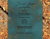 Elegant Teal and Gold Glitter Wedding Invitation Printed on A5