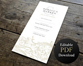 Elegant Wedding Invitation Template Printable Editable PDF INSTANT DOWNLOAD. Gold Floral Classy Invites space for guests names
