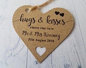 Personalised Heart Shaped Card Tags, Hugs And Kisses From The New Mr And Mrs, Wedding Favor/Party Ideas for sweet cones/boxes/bags TGS224