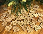 30 Personalised Wooden Bamboo Hearts Table Confetti Scatter Hearts Wedding Table Decorations Wedding Favours Laser Cut Hearts