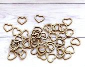 100pcs Wooden Heart Confetti Rustic Scatter Hearts Wedding Table Decoration Wood Craft Shapes