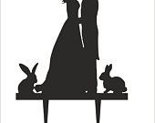Fiance Fiancee Cake Toppers with Rabbits Engagement high quality acrylic, Bride and Groom, Silhouette Cake Topper