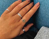 Silver double band granulation ring. Two silver hammered bands with silver granulation detailing. Silver band. Wedding band.