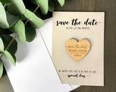 Save the Date Magnets Cards, Wedding Invitations, Rustic Magnet Invites, Custom Wood Fall Winter Invitation, Wooden Save the Dates Kraft