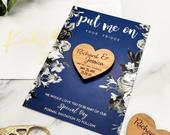 Save the Date Magnet Cards, Rustic Wedding Wood Heart, Personalised Wedding Invites Custom Save the Dates with Envelope / Navy Blue Floral